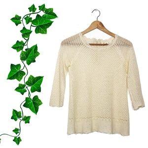 {Anthropologie} Moth Cream Wool Pointelle Pullover